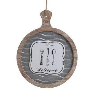Decoratiune de perete din lemn si fier Menu